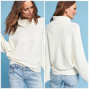 New Anthropologie Moth Ribbed Turtleneck Sweater